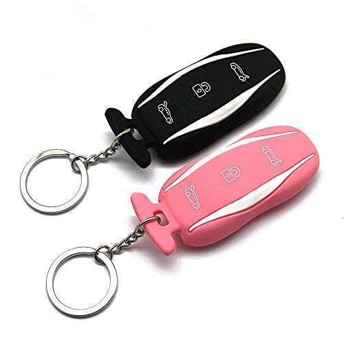topfit Silicone Car Keychain for The Tesla Model S (Black Pink 2 of Set)