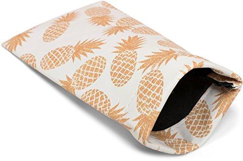 styleBREAKER Etui für Sonnenbrillen mit Ananas Print und Putztuch, Brillenetui mit Schnappverschluss, Damen 09020076, Farbe:Weiß-Orange