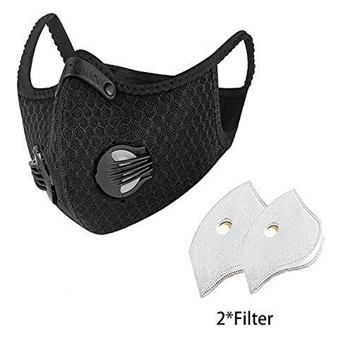 Maschera filtro aria PM2.5, maschera antiappannamento, maschera antipolvere protettiva, maschera copri bocca lavabile, maschera di sicurezza antipolvere con 2 valvola di sfiato per modalità esterna