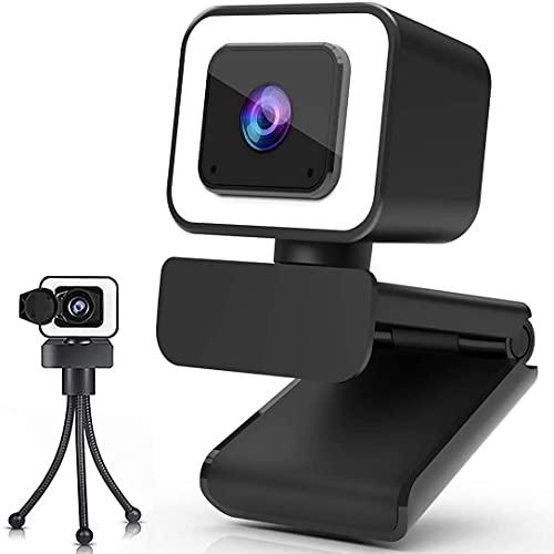 Webcam 2K mit Ringlicht und Mikrofon,...