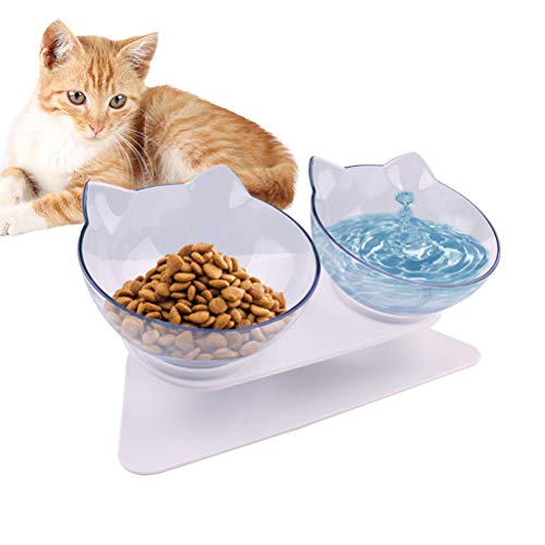 Doppelter Futternapf, Katzennäpfe, Futternapf Katze, mit erhöhtem Ständer- rutschfeste Katzenschale - Haustier Essen Wasser Schüsseln