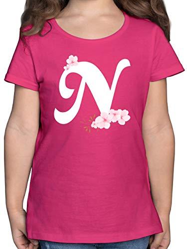Anfangsbuchstaben Kind - Buchstabe N mit Kirschblüten - 164 (14/15 Jahre) - Fuchsia - Kirschblüte - F131K - Mädchen Kinder T-Shirt