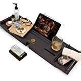 Pristine Bamboo Bath Caddy Tray for Tub - Expandable Bath Tray for Two, Bath Tub Tray for Bath with iPad iPhone Book and Wine Glass Holder - Calming Natural