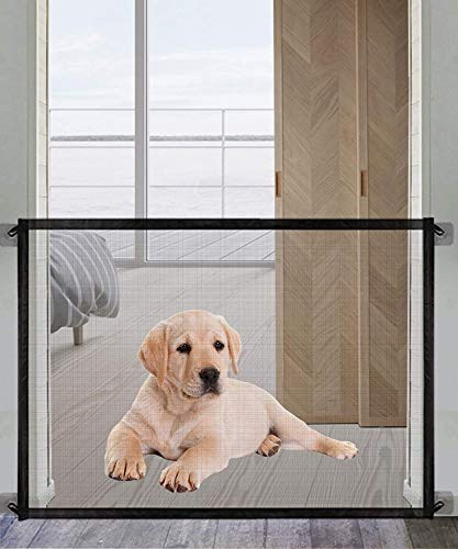 Pet Gate Magic Gate for Dogs,Queenii Pet Safety Guard Mesh Dog Gate,Portable Folding Children's Safety Gates Install Anywhere [Easy-Series] Safety Fence for Hall Doorway Wide 40.08' -Black