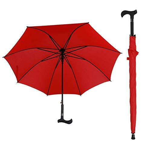 QMPST LYX® Crutches Umbrella, 23 Zoll Verstärkter Knochen-Gerader Regenschirm Alter Mann Multifunktionaler, Rutschfester Bergsteiger-Regenschirm Roter Sonnenschirm Outdoor Trekkingständer Krücken