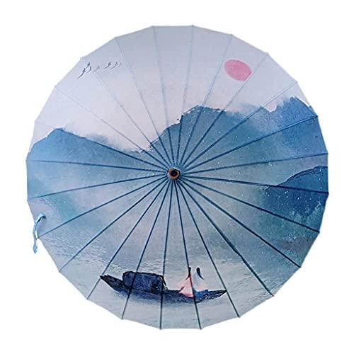 Paraguas Plegables Paraguas Retro Paraguas de Mango Largo Papel de Aceite Sombrilla a Prueba de Viento Paraguas Doble Viento Nacional Paraguas Retro de Madera Fácil de Llevar