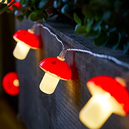 Lights4fun Catena Luminosa Solare di 20 Funghetti con LED Bianchi Caldi per Esterni