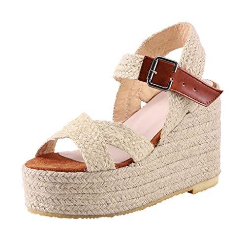 Dasongff dames sandalen zomer wighak Bohemian Elegant vishoofd mond schoenen gevlochten schoenen plateausandaletten Romika Buckle Peep Toe Shoes met hak espadrilles 43 EU bruin