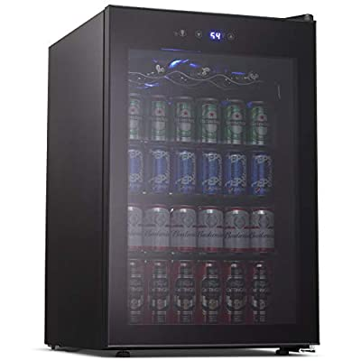 Joy Pebble Beverage Cooler and Refrigerator 120 Can Mini Fridge with Glass Door for Soda Beer or Wine Small Drink Cooler for Home Office or Bar (4.5 cu.ft)