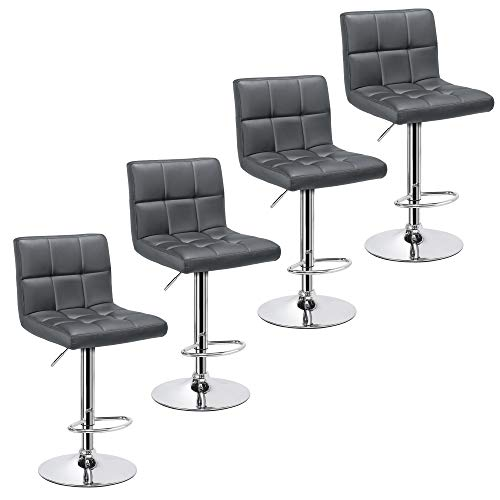 Yaheetech Bar Stools 4pcs Modern Adjustable Kitchen Island Chairs Counter Height Barstools Swivel PU Leather Chair Black 30 inches,X-Large Base and Seat, Grey