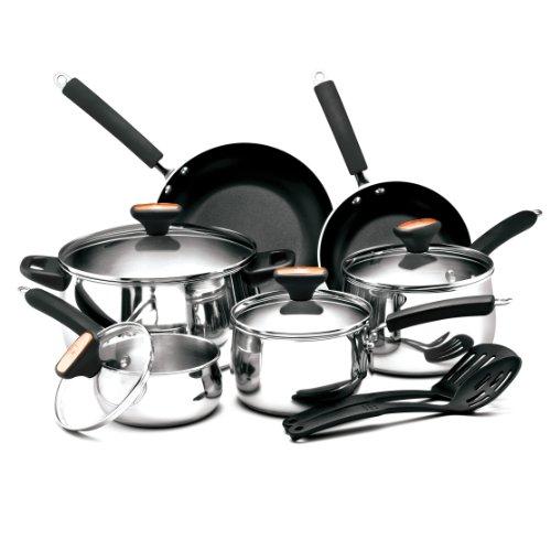 Paula Deen Signature Stainless Steel Cookware Pots and Pans Set, 12...