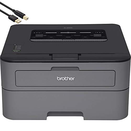 Brother HL-L2300D Monochrome Laser Printer with Duplex Printing - Business Office Bundle - up to 2400 x 600 Resolution - 27 ppm Print Speed - BROAGE 6 Feet USB Printer Cable