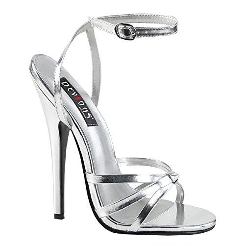 Higher-Heels PleaserUSA Damen Sandaletten Domina-108 mattsilber Gr. 46
