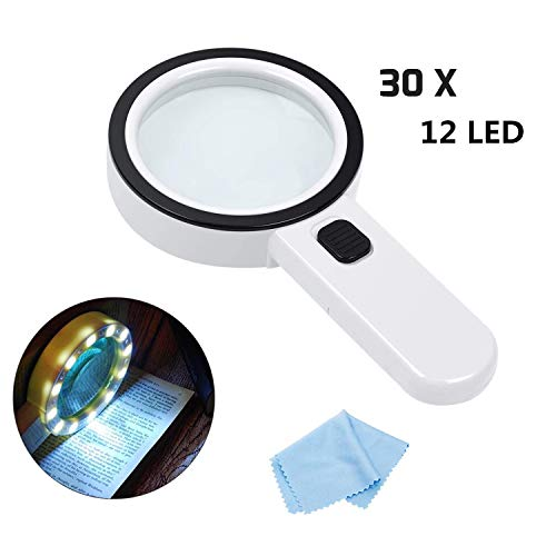 Lente Ingrandimento con Luce - RIGHTWELL 30X Occhiali Ingrandimento con 12 LED Professionali per Lettura, Ispezione, Esplorazione, Artigianato, Anziani, Bambini