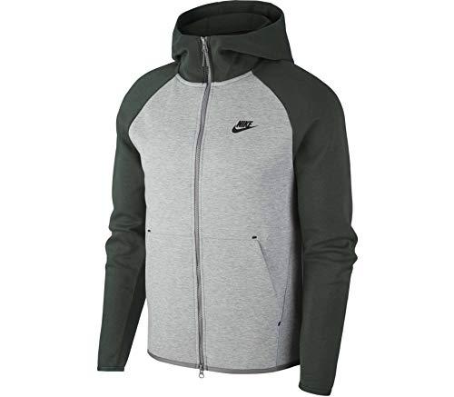 Nike Sportswear Tech Fleece, Felpa Uomo, Grigio Scuro mélange/Verde (Galactic Jade) / Nero, XL