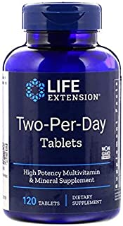 Life Extension Two-Per-Day Tablets Super-Potent Multivitamin & Mineral Supplement 120 Tablets