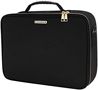 SONGMICS 15.1 Inch Travel Makeup Bag Makeup Train Case with 9 Adjustable Dividers, Hard Shell Cosmetic Bag Organizer Travel Kit, Artist Case with Brush Holders, Black UMUC21BK