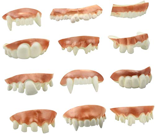 OPPEY 12 Pieces Gnarly Teeth Gag Teeth Ugly Fake Teeth Vampire Fangs Teeth for Halloween Decoration Theme Costume Party Favors (12 Styles)
