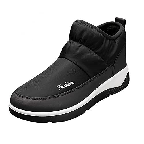 JDGY Plus - Botas de nieve para mujer, botas de invierno planas, térmicas, impermeables, cálidas, forradas, de algodón, antideslizantes, para la nieve, para mujeres, Negro , 38 EU