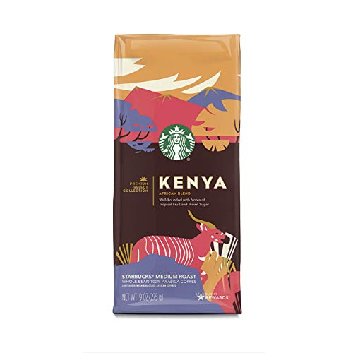 Starbucks Premium Select Collection, Kenya African Blend Medium Roast Coffee, Whole Bean, 9 Ounce (Pack of 6)