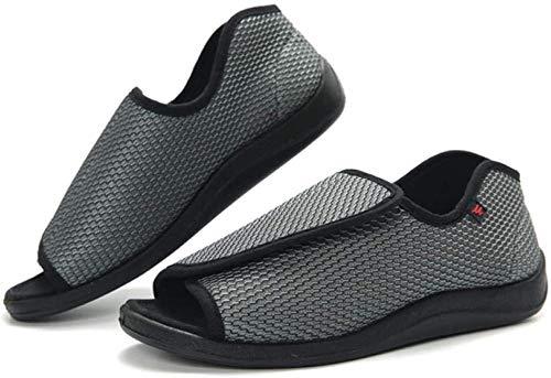 B/H Zapatos ortopédicos Ajustables,Zapatos de Velcro Ajustables, pies gordos, hinchados, Pulgares Anchos y Zapatos en valgo-Gris_40