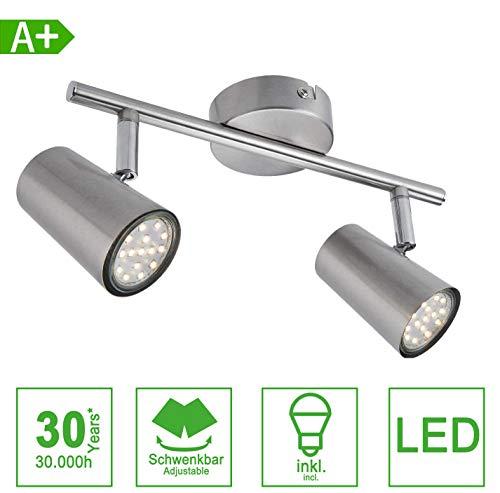 LED Deckenleuchte Spotbalken Schwenkbar inkl. 3W GU10 230V IP20 Metall Warmweiß LED Deckenstrahler, LED Deckenlampe, LED Deckenspot [Energieklasse A+] (2-flammig)