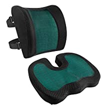 Amazon Basics - Cojín de asiento y cojín lumbar, espuma viscoelástica con gel refrescante, color negro, juego de 2