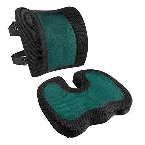 AmazonBasics - Cojín de asiento y cojín lumbar, espuma viscoelástica con gel refrescante, color negro, juego de 2