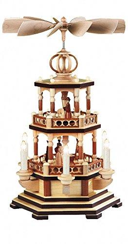 Müller Weihnachtspyramide Heilige Geschichte, 2-stöckig, Höhe 47 cm, elektrisch beleuchtet und angetrieben (230V, 50Hz), Natur, original Erzgebirge Seiffen