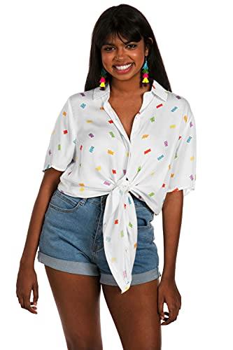 Tipsy Elves Gummy Galore Tie-Front Shirt: XXL