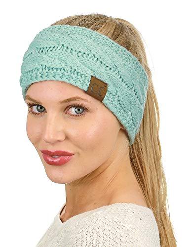 C.C Soft Stretch Winter Warm Cable Knit Fuzzy Lined Ear Warmer Headband, Mint