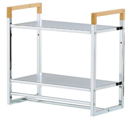 mondex inx420–00–Estantería de Pared para Cuarto de baño con 2estantes Metal/bambú Cromado 23x 45x 42cm