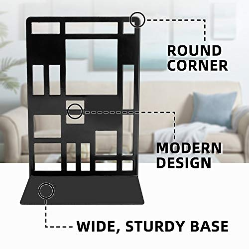 Book Support,Metal Bookends for Shelves Decorative Black Book Ends for School Home Heavy Duty Book Stopper Non Skid Sturdy Bookend Supports,Modern Bookend Holder for Office Kitchen with 1 Card Holder Photo #2