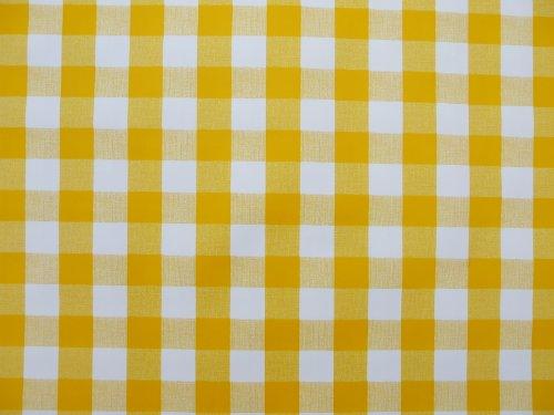 1 m Pièces de PVC/vinyle NAPPE – Carreaux Vichy jaune