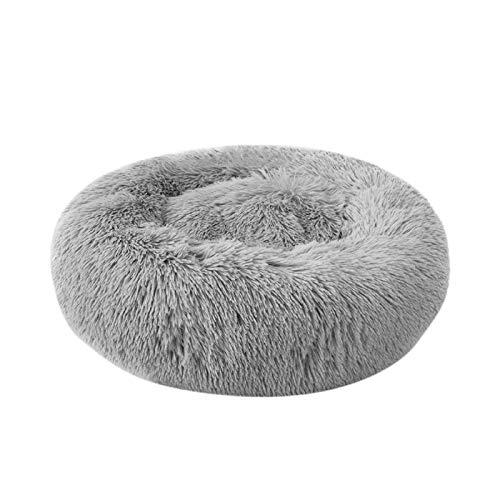 Decdeal Rundes Haustierbett Plüsch Donut Hundebett Sofa Katzen Nest Bett Kissen für verbesserten Schlaf
