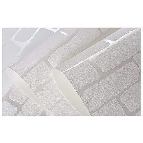 Rouleau de papier peint 3D amovible en forme de brique blanche - Papier peint autocollant pré-encollé - Tissu non tissé - Décoration d'intérieur - 52,5 x 495,3 cm