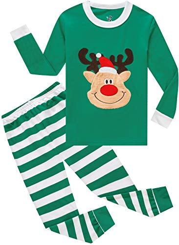 Christmas Pajamas for Girls Boys Kids Green Striped Sleepwear Hand Made Baby Deer Clothes Size 18 Months