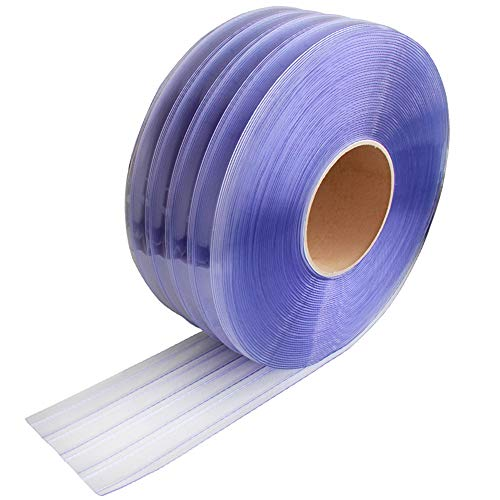 "VIZ-PRO Standard Ribbed PVC Curtain Strip Door Bulk Roll, 50' Length x 16"" Width x 0.16""Thick"