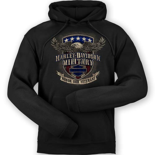 HARLEY-DAVIDSON Military - Men's Black Graphic Pullover Hooded Sweatshirt - Overseas Tour | Veterans Support