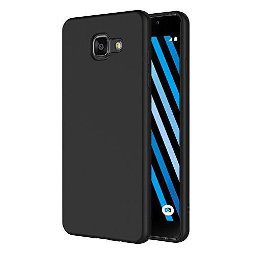 AICEK Coque Samsung Galaxy A3 2016, Noir Silicone Coque pour Galaxy A3 2016 Housse (4,7 Pouces) Noir Silicone Etui Case