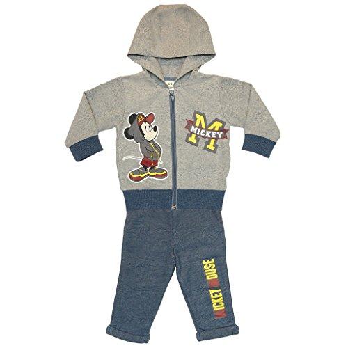 Kleines Kleid Kleines Kleid Jungen Mickey Mouse Sport-Anzug zweiteilig, Sweat-Jacke mit Langer Hose, GRÖSSE 68, 74, 80, 86, 92, 98, 104, 110, Jogging-Anzug mit Hoodie/Kapuzen-Pulli, Freizeit-Anzug in grau Size 68