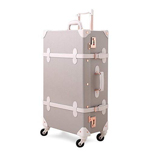 Unitravel Vintage Luggage 22 inch Lightweight Trolley Suitcase with Spinner Wheels for Women (Light Gray)