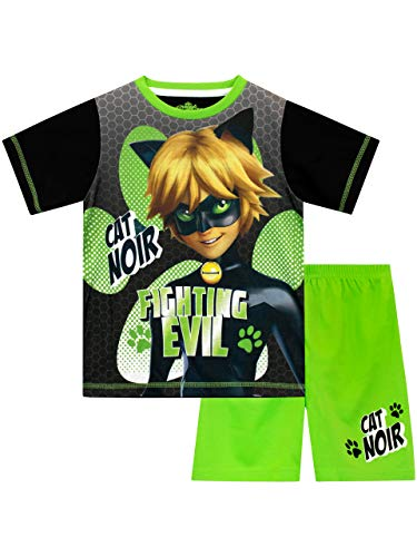 Miraculous Pijamas de Manga Corta para Niños Cat Noir Verde 11-12 Años