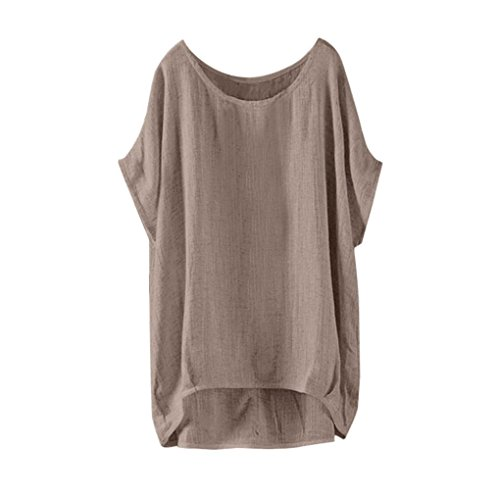 VJGOAL Damen T-Shirt, Damen Mode Fledermaus Kurzarm Casual Lose Tops Dünnschliff Sommer Bluse Pullover (XXXXXL, Khaki)
