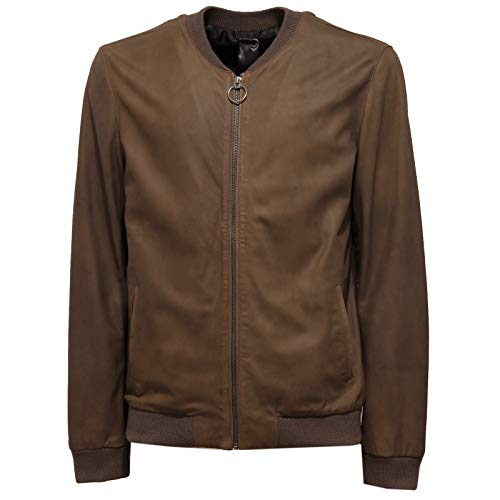 Selected 4757J Giubbotto uomo Homme Leather Green/Brown Vintage Bomber Man