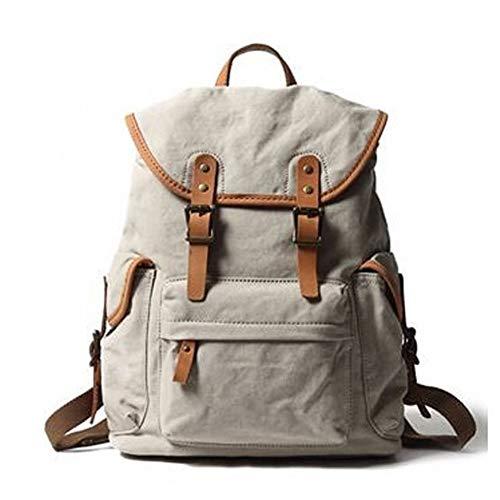 WFBD-CN Uomini Portafoglio Cuoio degli Uomini della Tela di Canapa Zaino Grande capacità di Moda Multi-Funzione di Svago Travel Bag Money Wallet Clip (Color : Beige, Size : 19 Inches)
