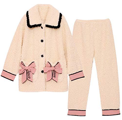 LEYUANA Pijamas de Invierno para Mujer, Camisa cálida con Botones y Cuello Vuelto, pantalón Largo, 2 Piezas/Traje,Pijamas XXL Style1