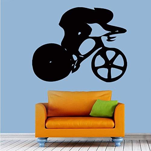 Pegatinas de Pared,Navidad, reposicionable, vinilo, multicolor Calcomanía de vinilo para pared pegatina ciclista bicicleta hombre deporte personas ciclismo arte decoración 57X73Cm