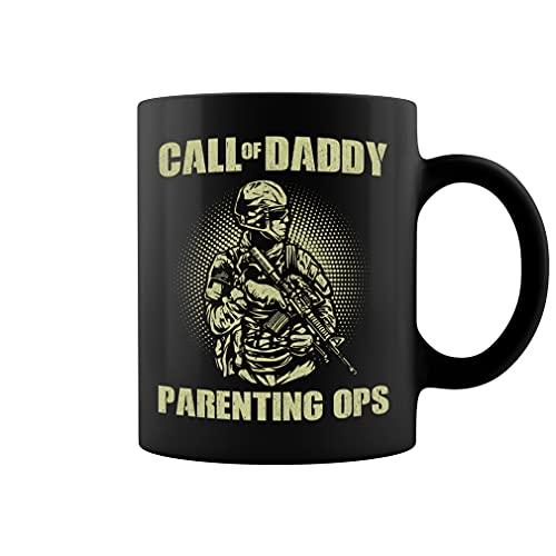 Daddy Parenting Ops Taza – Funny Dad Playing Game Taza de café de cerámica Taza de té (negro, 11 oz)