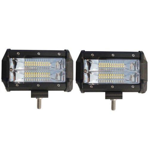 2PCS 5 Inch 72W LED Work Light Bar Flood Driving Lamp Autos SUV Truck Offroad